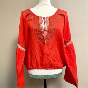 Free People orange boho top with embroidery
